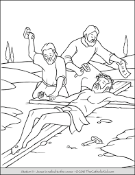 Small Picture Stations of the Cross Coloring Pages 11 Jesus is nailed to the