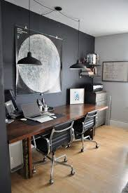 small office home office. Black Wall With Wood Design And Industrial Lighting Small Home Office Ideas K