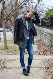 try pairing a black leather jacket with blue slim jeans to create a great weekend
