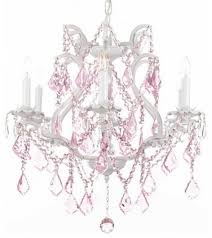 white wrought iron crystal chandelier with pink crystal lighting ideas