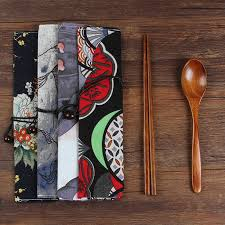 portable travel wooden dinnerware set spoon chopsticks cloth bag set bento lunch box korean japan style for kids s sushifl