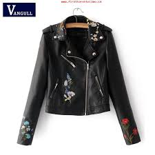 embroidery faux leather coat motorcycle zipper wine red leather jacket women fashion cool outerwear winter jacket