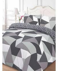 shapes geometric king size duvet cover and pillowcase set black