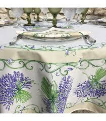 tissus toi round coated cotton tablecloth bouquet de lavandes