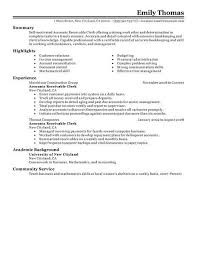 Best Accounts Receivable Clerk Resume Example Livecareer Get That