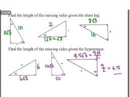 Trigonometry Prerequisite Special Right Triangles Worksheet Answer ...