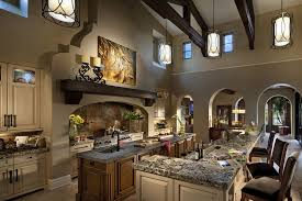 Mediterranean Kitchen with Breakfast bar, High ceiling, One-wall, Marazzi  Imperial Slate