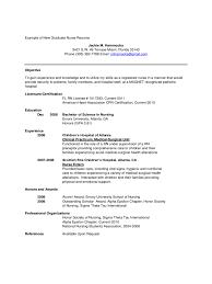 Resume For New Nurse Sample New Graduate Nurse Resume 44 Sample