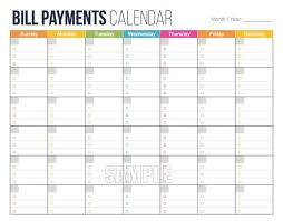 Bill Calendar Template Simple Bill Payments Calendar EDITABLE Personal Finance Etsy