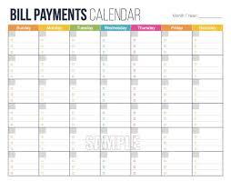 Bill Calendar Template