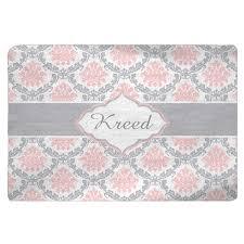 damask pink grey white plush fuzzy area rug size 48 30