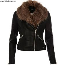 river island jackets women river knowledge island faux fur black biker collar in jacketcolor gijlnvz148