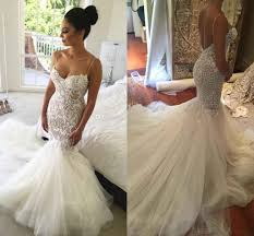 2017 sexy mermaid backless wedding dresses spaghetti neck lace