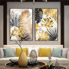 Nordic plants Golden leaf <b>canvas painting posters</b> and print wall art ...