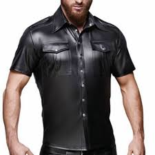 mens wetlook faux leather short sleeve round neck mens top blouse clubwear stage performance costume muscle tight shirt