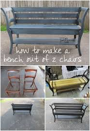 how to make a double chair bench using repurposed chairs