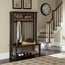 Wooden Coat Rack With Bench Furniture Skinny Varnished Oak Wood Hall Way Bench Combined Vintage 95