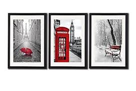 amazon black white and red wall art print posters eiffel tower decor big ben art wall picture snow photos for home office decoration 3 piece black  on red black white wall art with amazon black white and red wall art print posters eiffel tower