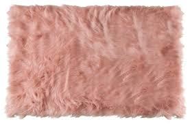 hudson faux sheepskin rug dusty rose