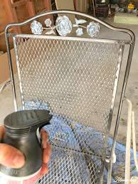painting wrought iron furniture. Spray Paint Patio Furniture - Spraying Chair With Oil Rubbed Bronze Painting Wrought Iron T