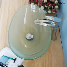 modern oval shape frosted tempered crystal glass bathroom vessel sink bvg012 in vancouver