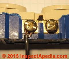 electrical outlet wire connections receptacle or wall plug wire binding head screw connector copper wire on an electrical receptacle c daniel friedman