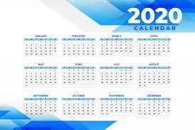 Calendar 2020 Template Free Abstract Blue 2020 Calendar Template Vector Free Download