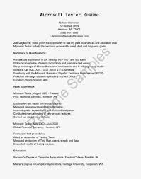 Objective For Software Testing Resume Software Tester Sample Resume