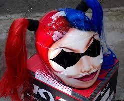 cute hot y girls helmet harley quinn red blue ponytails