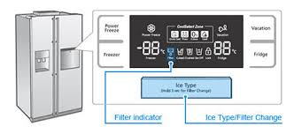 samsung refrigerator water filter location. Contemporary Samsung Filter Indicator And Ice Type Filter Change Button Are Highlighted In  Blue From Menu On Samsung Refrigerator Water Location P