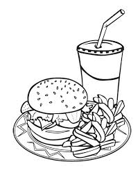 Small Picture Printable Junk Food Burger And Drink Coloring Page For Kids