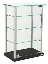 Glass Curio Cabinets With Lights Countertop Display Case W Glass Canopy Top 3 Shelves Black