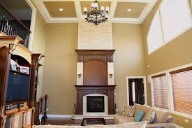 Great Room With Two Story Stone Fireplace And Catwalk Boral Bucks Two Story Fireplace