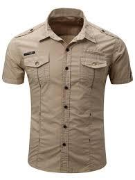 Gents Shirt Pocket Design Fashionable Turn Down Collar Pocket Design Mens Cargo Shirt