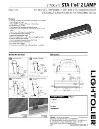 Vdt Lighting Lightolier Stacklyte Fluorescent Lighting Users Manual