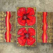 textured gold hot red poppies paintings a049 paintings abstract expressionism fine art