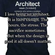 I love being an architect. It is hard though. The hours, the stress
