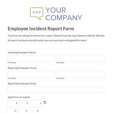Image Result For Incident Report Template For Travel Company