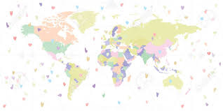 Vector Illustration Of Pastel World Map With Likes Hearts For