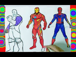 Superheroes Avengers Infinity War Coloring Pages Thanos Iron Man