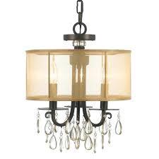 bronze lamp shade 3 light bronze crystal drum shade chandelier
