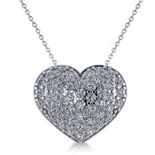 pave diamond puffed heart pendant necklace 14k white gold 1 38ct ad2707