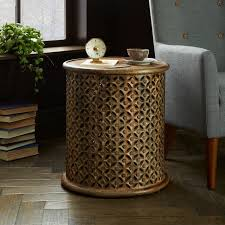 magnificent carved wood side table modern cylindrical with regard to remodel 11