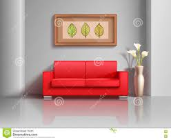 Living Room With Red Sofa Realistic Red Sofa And Flowerpot In Living Room Interior Vector