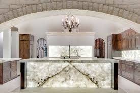 back lit stone transitional kitchen
