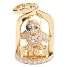 cartier precious gemstone gold birdcage pendant for
