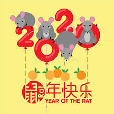 Vector illustration with different animal characters in various poses. Happy Chinese New Year 2020 Zodiac Sign Year Of Rat With Chinese Characters Tr In 2020 Chinese New Year Card Chinese New Year Decorations Chinese New Year Crafts