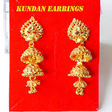 kundan chandelier drop earrings 22k gold plated earrings indian fashion earring