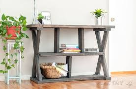 easy diy rustic x leg console table with plans