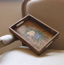 antique wooden tray with handle wt0030